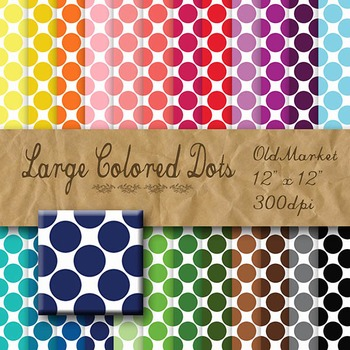 Digital Paper Pack - Large Colored Dots - 24 Different Pap