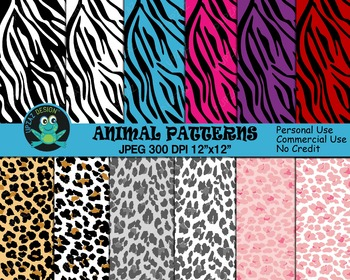 Zebra Print and Leopard Print Digital Papers (Upzaz Digita