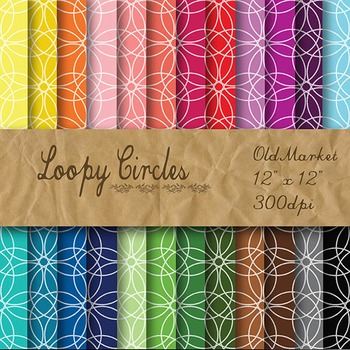 Digital Paper Pack - Loopy Circles - 24 Different Papers -