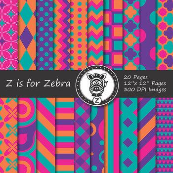 Digital Paper Pack Multicolored 5 - CU ok { ZisforZebra}