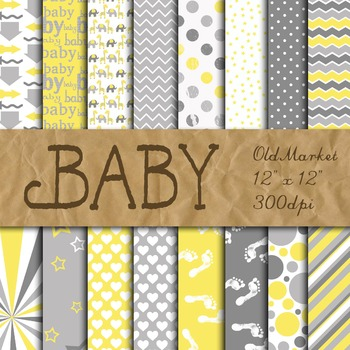 Digital Paper Pack - Neutral Baby Colors - Gray and Yellow
