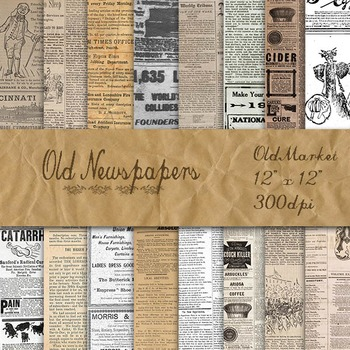 Digital Paper Pack - Old Newspapers - 16 Different Papers