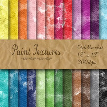 Digital Paper Pack - Watercolor Paint Textures - 24 Differ