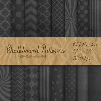 Digital Paper Pack - Patterned Chalkboard Backgrounds - 16