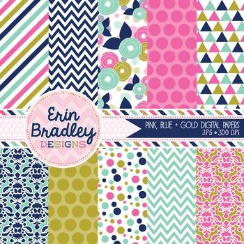 Digital Paper Pack - Pink Blue & Gold Background Patterns