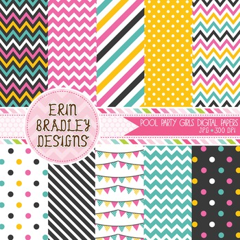 Digital Paper Pack - Pool Party Girls Background Patterns