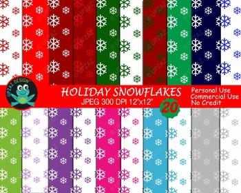 Snowflake Digital Papers {Upzaz Digital Clipart}