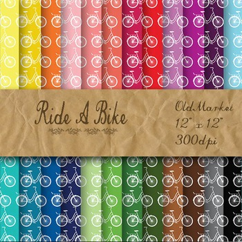 Digital Paper Pack - Ride A Bike - 24 Different Papers - 12 x 12
