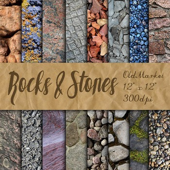 Digital Paper Pack - Rock and Stone Textures - 16 Differen