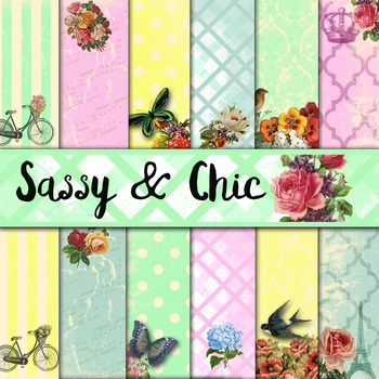 Digital Paper Pack - Sassy and Chic Digital Papers - 24 Pa