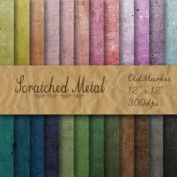 Digital Paper Pack - Scratched Metal Textures - 24 Differe