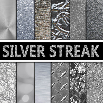 Digital Paper Pack - Silver Textures - 12 Different Papers