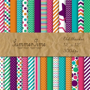 Digital Paper Pack - SummerTime Colors Collection - 30 Pap