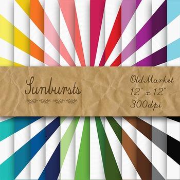 Digital Paper Pack - Sunbursts - 24 Different Papers - 12 x 12