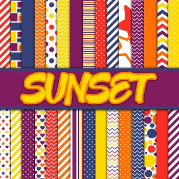 Digital Paper Pack - Sunset Colors Collection - 30 Papers
