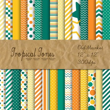 Digital Paper Pack - Tropical Tones Color Collection - 30