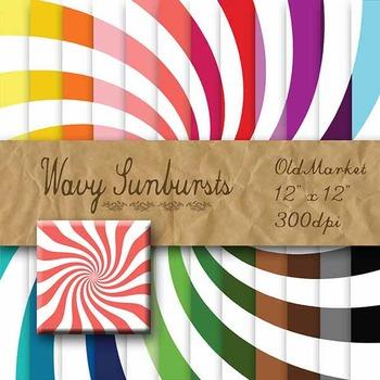 Digital Paper Pack - Wavy Sunbursts - 24 Different Papers