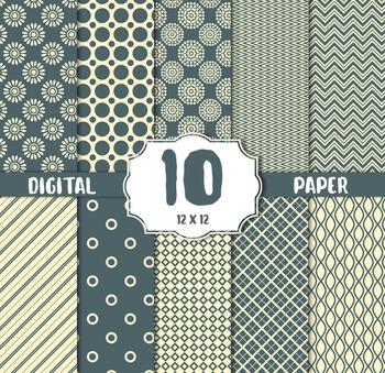 Digital Paper Pack, stripes, Polka dots pink white
