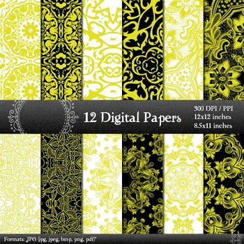 Digital Paper Page Piecing Digital  12 X 12 + 8.5 X 11 Orn