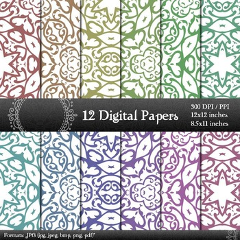 Digital Paper Page Variety Paper 12x12 + 8.5x11 Inch A4 Co