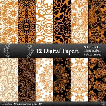 Digital Paper Pattern 12x12 + 8.5x11 Inch Sheet Scrapbook
