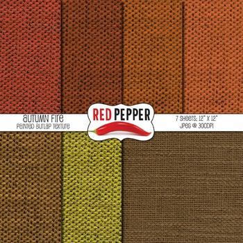 Digital Paper / Patterns - Autumn Burlap Fire