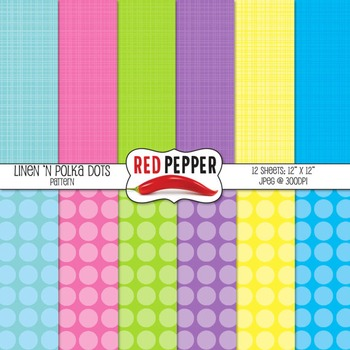 Digital Paper / Patterns - Linen 'n Polka Dots