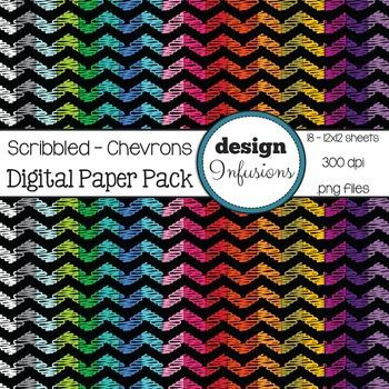 Digital Paper / Patterns: Scribble Chevrons, Black Background