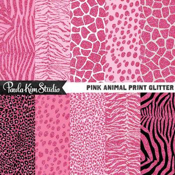 Digital Paper - Pink Glitter Animal Print