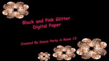 Digital Paper Pink Glitter and Black Designs Personal or C