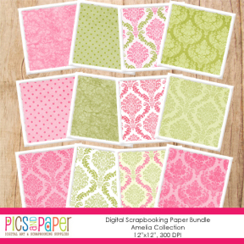 Digital Paper- Pink and Green Damask