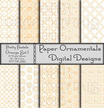 Digital Paper: Pretty Pastels Orange Set 1