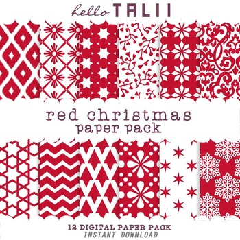 Digital Paper: Red Christmas Paper Pack