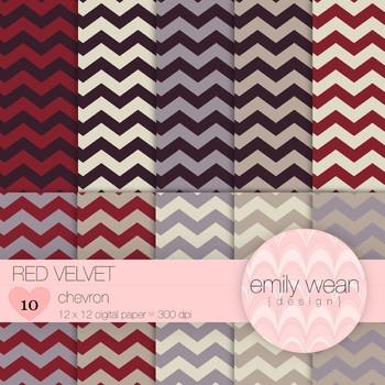 Red Velvet - Digital Paper - Chevron Background