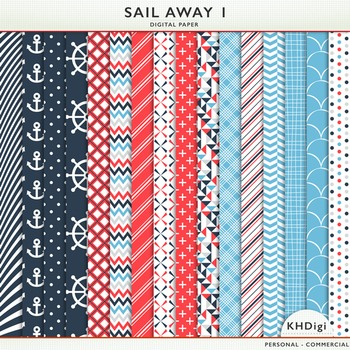 Digital Paper - Sail Away 1 - Nautical themed blue and red.