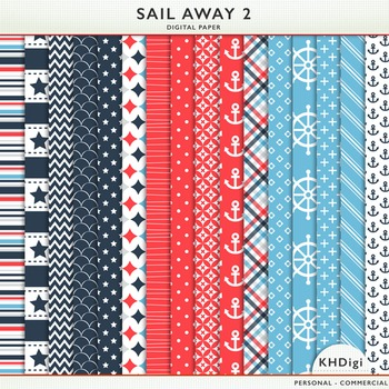 """Digital Paper - """"Sail Away 2""""  Blue & Red Nautical Themed"""