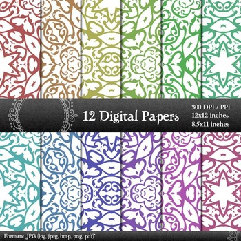 Digital Paper Seamless Pattern Card Texture Set Premade Ar