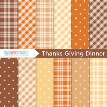 Digital Paper - Thanksgiving Dinner / Tablecloth / Gingham
