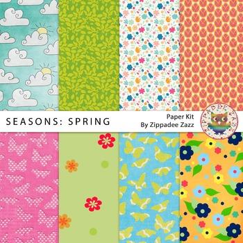 DOLLAR DEAL Digital Paper - Seasons: Spring - 8 papers