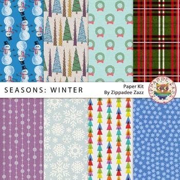 DOLLAR DEAL Digital Paper - Seasons: Winter - 8 papers #DollarDay