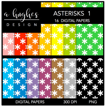 Digital Paper Set: Asterisks 1 {Graphics for Commercial Use}