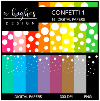 Digital Paper Set: Confetti 1 {Graphics for Commercial Use}