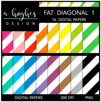 Digital Paper Set: Fat Diagonal Stripes 1 {Graphics for Co