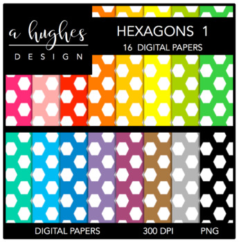 Digital Paper Set: Hexagons 1 {Graphics for Commercial Use}