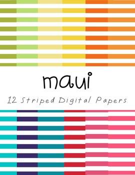 Digital Paper Set: Maui {12 Striped Papers}