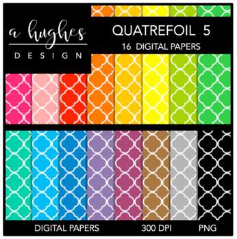Digital Paper Set: Quatrefoil 5 {Graphics for Commercial Use}