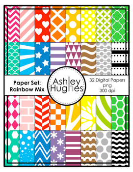 Digital Paper Set: Rainbow Mix {Graphics for Commercial Use}