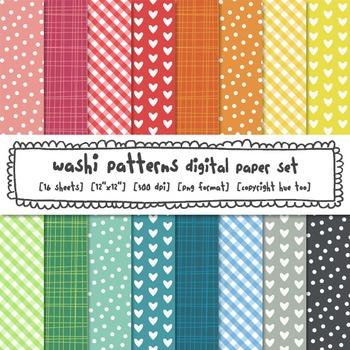 Digital Paper Set, Rainbow Patterns Printables, Chevron, H