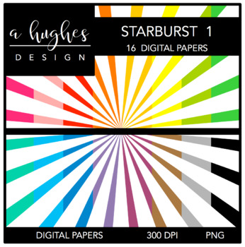 Digital Paper Set: Starburst 1 {Graphics for Commercial Use}