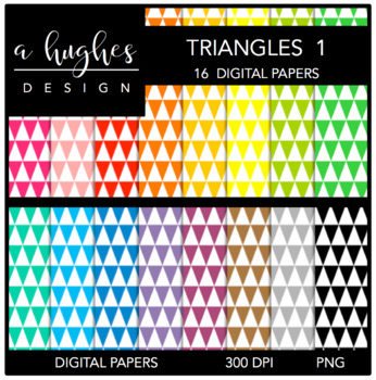 Digital Paper Set: Triangles 1 {Graphics for Commercial Use}